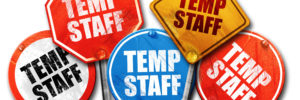 temp staff, 3D rendering, street signs